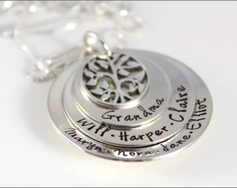 Christmas Gift for Grandma | Stacked Grandma Necklace, Name Necklace, Grandchildren's Names, Personalized Grandma Necklace, Tree of Life