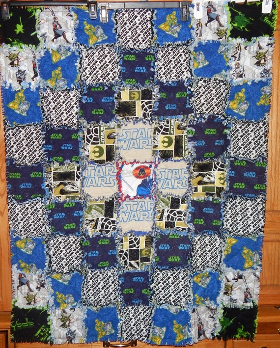Star Wars baby quilt cotton flannel rag blanket hand made Yoda R2D2 C3PO Darth Vader Jedi Knight light saber Millennium Falcon Ready to Ship