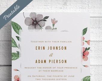 Pretty Wedding Invitation Printable