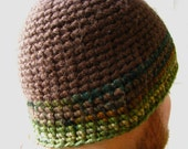Thick Chunky Brown Camo Green Beanie Crochet Hat Extra Warm for Him Boyfriend Husband Hunter Neutral Masculine