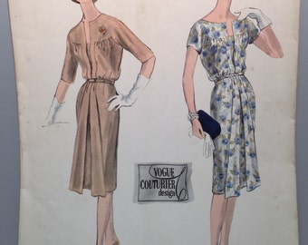 50s Cocktail Dress Pattern - #169 -  UNUSED - Vogue Couturier Design - Woven Label - Bust 38 - Great Size