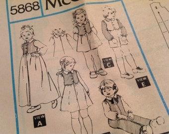 Mccalls Pattern 5868, child's jumpsuit pattern, size 2 pattern, toddlers pattern, uncut pattern