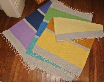 "Hand Woven cotton Rug - 24"" x 36"" - build-a-rug, custom, commissioned"