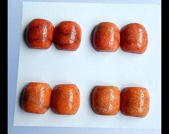 SALE,4 Pairs Orange Coral Cabochon,12x12x6mm,8.65g