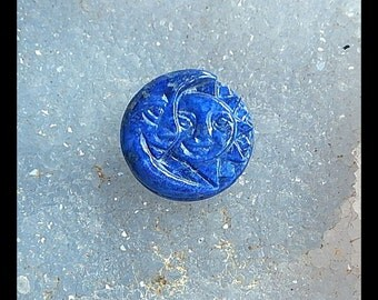 Carved Lapis Lazuli Sun And Moon Gemstone Cabochon,20x6mm,3.99g