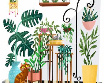 Retro Plants Print