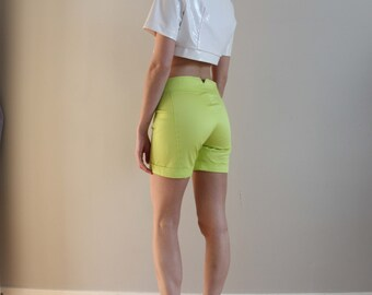 90s VERSACE lime green cotton shorts, size 26 / 40