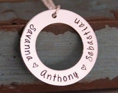 Washer with names / Personalized Jewelry / Hand Stamped Mommy Necklace / Family Circle of Love / Solo