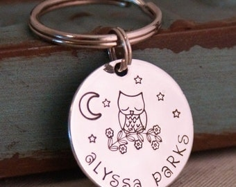 Back to school - ID name tag - Personalized Backpack / lunch bag tag - Zipper pull - Back to school - Personalized Name Tag Sleepy Owl