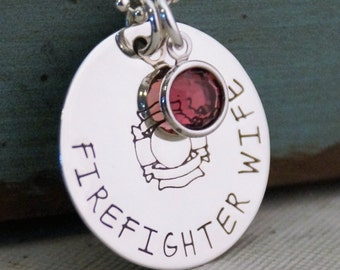 Firefighter wife Necklace / Hand Stamped Personalized Jewelry / Firefighter wife jewelry