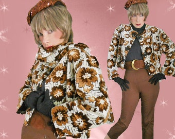 Fall Vintage Tapestry Jacket with Matching Scarf - 1960s Short Heavy Chenille Cropped Jacket