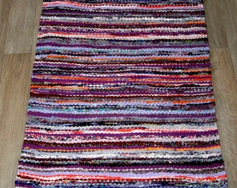 Handwoven rag rug - 1.98' x  2.4'- lillac, pink, orange, ready for sale