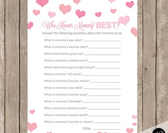 Who Knows Mommy Best Baby Shower Game, pink  hearts baby shower activity, baby shower game, baby shower activity card