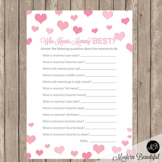 Superior Who Knows Mommy Best Baby Shower Game, Pink Hearts Baby Shower Activity, Baby  Shower Game, Baby Shower Activity Card