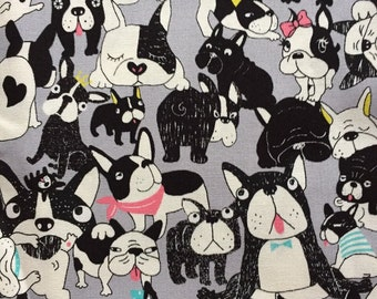 Japanese cotton fabric dog french bulldog  printed Half yard grey colour