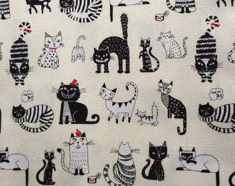Japanese cotton fabric cat printed Half yard white colour