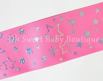 """3"""" Hot Pink with Silver Holographic Stars  *Cheer Bow Ribbon*"""