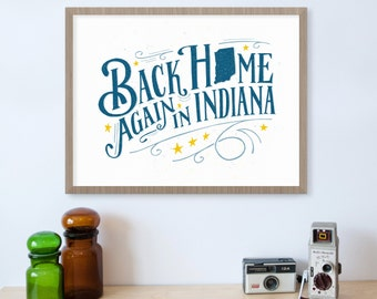 Back Home Again in Indiana Print, Indianapolis 500, Indy 500, Indiana Art, Indiana State, Indiana Home, State Art, State Prints, Hoosier