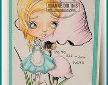 INSTANT DOWNLOAD Whimsical Big Eye Alice In Wonderland Stamp - Alice  Image No.324 by Lizzy Love