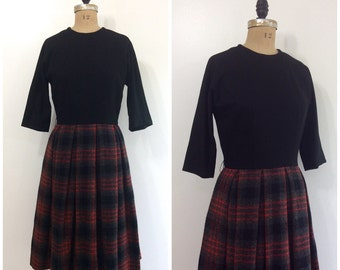 Vintage 1950s Dress 50s Henry Rosenfeld Wool Black and Plaid Dress 50s Winter Dress