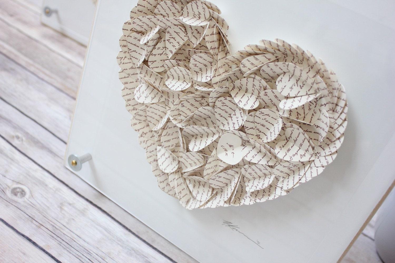 Paper Anniversary Gift 3D Hearts Framed Lyric Art