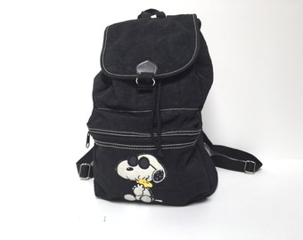 vintage SNOOPY with sunglasses color block 90s nylon BACKPACK back to school bag book bag