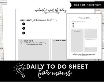 Daily To Do Sheet - Mom Planner Sheet - To Do List