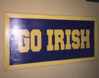 "GO IRISH sign 12""x24"" distressed finish"