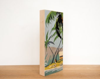 "Paint by Number Large Art Block,  6"" x 14"", 'Island Life' - palm trees, vintage art, tiki"