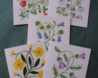 Flower notelet cards Thistle Strawberry Primrose Clover Bluebell set of five printed cards