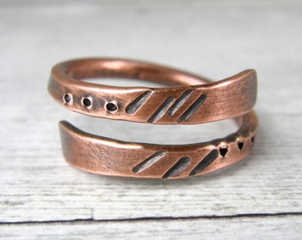 Tribal Marking Hammered Copper Wire Ring, Antiqued Copper Ring, Made to Order Ring