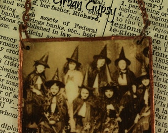 Vintage Image Of Coven Of Witches Pendant Necklace Handmade Tag Necklace Indianapolis Shop