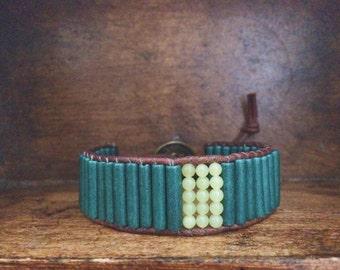 Bohemian jewelry, dark teal ceramic beads, green serpentine stone and brown leather bracelet
