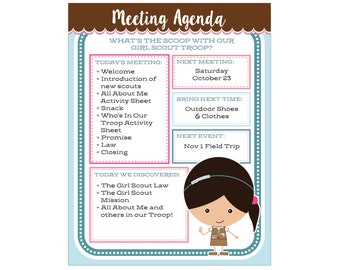 Brownie Girl Scout Meeting Agenda - Editable Printable - Instant Download