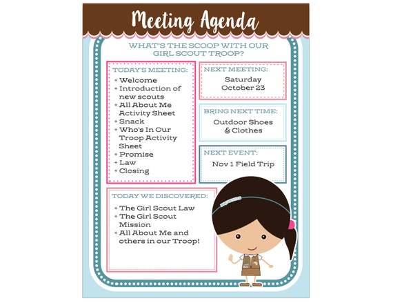 girl scout brownie meeting agenda Girl scout meeting ideas for your daisy girl scout meetings to your personal agenda you can make meeting planning easier by.