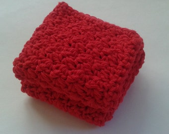 Cloth Pads Reusable, Crocheted Cotton Dishcloths, Washcloths, Set of 2- Red