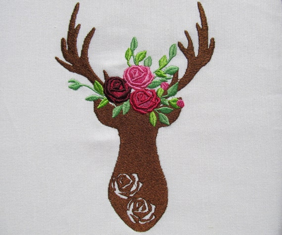 Deer silhouette machine embroidery designs and