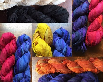 2 for 20 Recycled Sari Silk Ribbon Yarn, MLB Team Colors, AL Central, White Sox, Indians, Tigers, Royals, Twins, 3.5 oz, 50 yards each