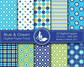 50% off Blue & Green Paper Pack - 10 Digital papers - 12 x12 - 300 DPI
