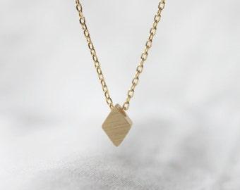 Tiny Minimalist Rhombus Necklace, Gold, Silver lozenge  - S2358-2