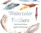 Hand Painted Watercolor Feathers Digital Download Pack - JPEGs and PNGs