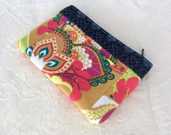 Wallet Coin Purse Card Holder Yellow Pink Bright Floral