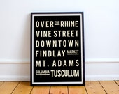 Cincinnati, Art, Living Room Decor, Map, Art Print, Typography Art, Wall Decor, Subway Sign, Wall Art Print, Travel Art, Subway Art, Sign