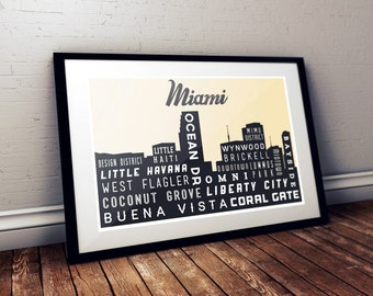 City Skyline, MIAMI, Typography Print, Giclee Art Poster, Wall Art, Home Decor, Modern Industrial Look, Black and White