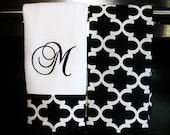 Monogram Kitchen Towels or Hand Towels in Black Quatrefoil    Housewarming Gift   Hostess Gift   Gifts for Her   Wedding