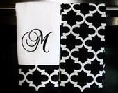 Monogram Kitchen Towels or Hand Towels in Black / White Quatrefoil