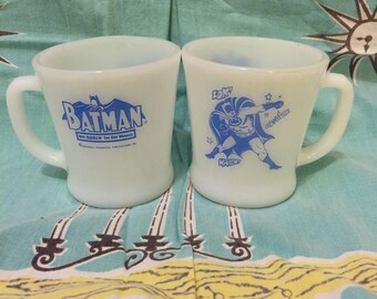 Vintage Anchor Hocking Fire King Blue BATMAN D Handle Mug