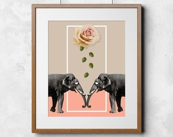 LOVE Elephants Vintage Style 8 x 10 Printable Art, Instant download