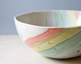 large bowl RAINBOWS. handmade ceramics, pottery. wedding gift. housewarming gift. neutral, pastel ceramics, large handmade serving bowl,