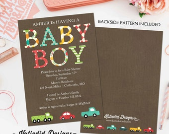 car baby shower invitation baby boy shower birthday bash party truck couples diaper baptism baby sprinkle (item 1229) baby shower invite